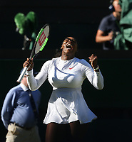 Serena Williams (USA) celebrates during her first round match against Arantxa Rus (NED)<br /> <br /> Photographer Rob Newell/CameraSport<br /> <br /> Wimbledon Lawn Tennis Championships - Day 1 - Monday 2nd July 2018 -  All England Lawn Tennis and Croquet Club - Wimbledon - London - England<br /> <br /> World Copyright &not;&uml;&not;&copy; 2017 CameraSport. All rights reserved. 43 Linden Ave. Countesthorpe. Leicester. England. LE8 5PG - Tel: +44 (0) 116 277 4147 - admin@camerasport.com - www.camerasport.com
