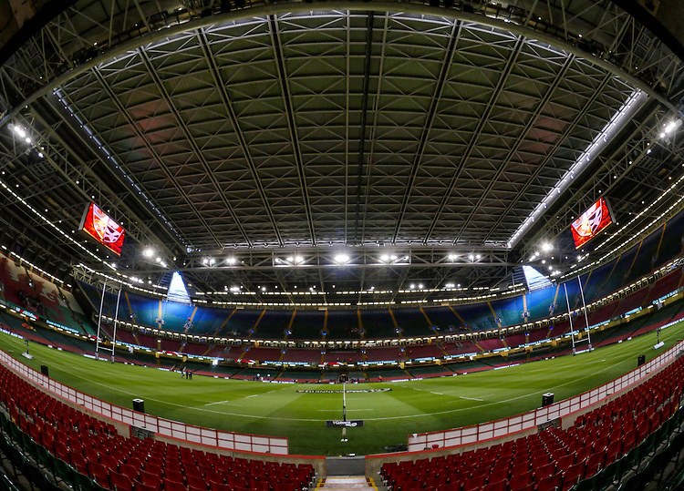 A general view of Millennium Stadium , home of the Welsh Rugby Union<br /> <br /> Photographer Ian Cook/CameraSport<br /> <br /> Rugby Union - Guinness PRO12 - Saturday 25th April 2015 - Cardiff Blues v Ospreys - Millennium Stadium - Cardiff<br /> <br /> &copy; CameraSport - 43 Linden Ave. Countesthorpe. Leicester. England. LE8 5PG - Tel: +44 (0) 116 277 4147 - admin@camerasport.com - www.camerasport.com