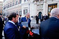 Roma 18 Aprile 2013.Il Presidente del Senato della Repubblica Pietro Grasso lascia la Camema dei Deputati dopo la fine delle votazioni per l'elezione del Presidente della Repubblica