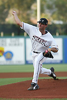 Justin Germano of the Lake Elsinore Storm pitches during a game at The Diamond on July 8, 2003 in Lake Elsinore, California. (Larry Goren/Four Seam Images)