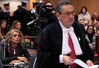 Roberta Milletari', a sinistra, ascolta l'arringa dell'avvocato Franco Coppi durante l'udienza conclusiva del processo a carico del marito Raniero Busco per il delitto di Via Poma, presso la Corte d'Appello di Roma, 27 aprile 2012..UPDATE IMAGES PRESS/Riccardo De Luca