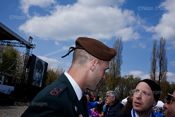 OSWIECIM, POLAND, APRIL 24, 2017:<br /> Elisha Wiesel, talking to Israeli soldier LTC Roie Levy before during the &quot;March of The Living&quot; an annual march between two camps of the Auschwitz concentration camp.  Elisha Wiesel is a chief technology officer at Goldman Sachs in New York and the only son of Holocaust memoirist Eli Wiesel. After death of his father he has decided to step forward and take a more public role, carrying on his father's work.<br /> (Photo by Piotr Malecki / Napo Images)<br /> ###<br /> OSWIECIM, 24/04/2017:<br /> Elisha Wiesel, syn slawnego Eli Wiesela, bierze udzial w Marszu Zywych w Oswiecimiu. Po smierci ojca Elisha postanowil kontynuoawc jego dzielo.<br /> Fot: Piotr Malecki / Napo Images<br /> <br /> ###ZDJECIE MOZE BYC UZYTE W KONTEKSCIE NIEOBRAZAJACYM OSOB PRZEDSTAWIONYCH NA FOTOGRAFII###