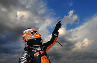 Jan. 18, 2012; Jupiter, FL, USA: NHRA top fuel dragster driver Spencer Massey jokingly points to the sky during testing at the PRO Winter Warmup at Palm Beach International Raceway. Mandatory Credit: Mark J. Rebilas-
