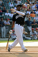 Jackson Generals outfielder Denny Almonte #16 swings at a pitch during Home Run Derby before the Southern League All-Star Game  at Smokies Park on June 19, 2012 in Kodak, Tennessee.  The South Division defeated the North Division 6-2. (Tony Farlow/Four Seam Images).