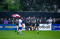 Team Wellington players celebrate Team Wellington's Jack-Henry Sinclair's second goal during the Oceania Football Championship final (first leg) football match between Team Wellington and Lautoka FC at David Farrington Park in Wellington, New Zealand on Sunday, 13 May 2018. Photo: Mike Moran / lintottphoto.co.nz