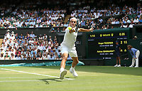 Roger Federer (SUI) during his victory against Adrian Mannarino (FRA) in their Men's Singles Fourth Round match<br /> <br /> Photographer Rob Newell/CameraSport<br /> <br /> Wimbledon Lawn Tennis Championships - Day 6 - Saturday 7th July 2018 -  All England Lawn Tennis and Croquet Club - Wimbledon - London - England<br /> <br /> World Copyright &Acirc;&copy; 2017 CameraSport. All rights reserved. 43 Linden Ave. Countesthorpe. Leicester. England. LE8 5PG - Tel: +44 (0) 116 277 4147 - admin@camerasport.com - www.camerasport.com
