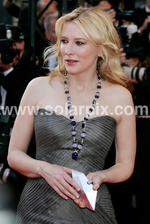**ALL ROUND PICTURES FROM SOLARPIX.COM**.**SYNDICATION RIGHTS FOR UK AND SPAIN ONLY**.Cate Blanchett at the premiere of 'Indiana Jones and the Kingdom of the Crystal Skull' in Cannes..JOB REF:   6446    CPR        DATE: 16.04.08.**MUST CREDIT SOLARPIX.COM OR DOUBLE FEE WILL BE CHARGED* *UNDER NO CIRCUMSTANCES IS THIS IMAGE TO BE REPRODUCED FOR ANY ONLINE EDITION WITHOUT PRIOR PERMISSION*