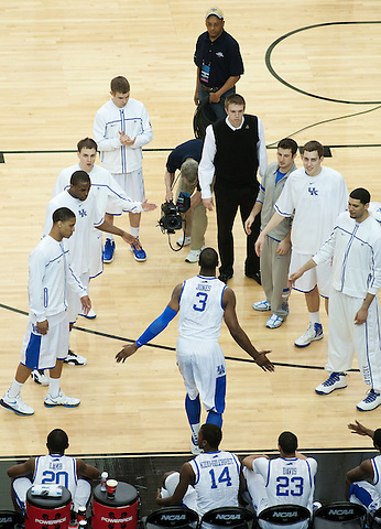 UK forward Terrence Jones is announced during starting lineups. Kentucky faced Baylor during the 2012 NCAA Tournament Regional Finals at the Georgia Dome in Atlanta, March 25, 2012. Photo by