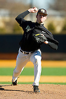 Connor Kaden #40 of the Wake Forest Demon Deacons in action during an intrasquad scrimmage at Wake Forest Baseball Park on January 29, 2012 in Winston-Salem, North Carolina.  (Brian Westerholt / Four Seam Images)