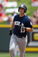 New Orleans Zephyrs shortstop Ed Lucas #13 trots around the bases after homering against the Round Rock Express in the Pacific Coast League baseball game on April 21, 2013 at the Dell Diamond in Round Rock, Texas. Round Rock defeated New Orleans 7-1. (Andrew Woolley/Four Seam Images).