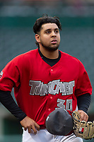 Fort Wayne TinCaps starting pitcher Ramon Perez (30) walks off the field between innings of a Midwest League game against the Fort Wayne TinCaps at Parkview Field on April 30, 2019 in Fort Wayne, Indiana. Kane County defeated Fort Wayne 7-4. (Zachary Lucy/Four Seam Images)