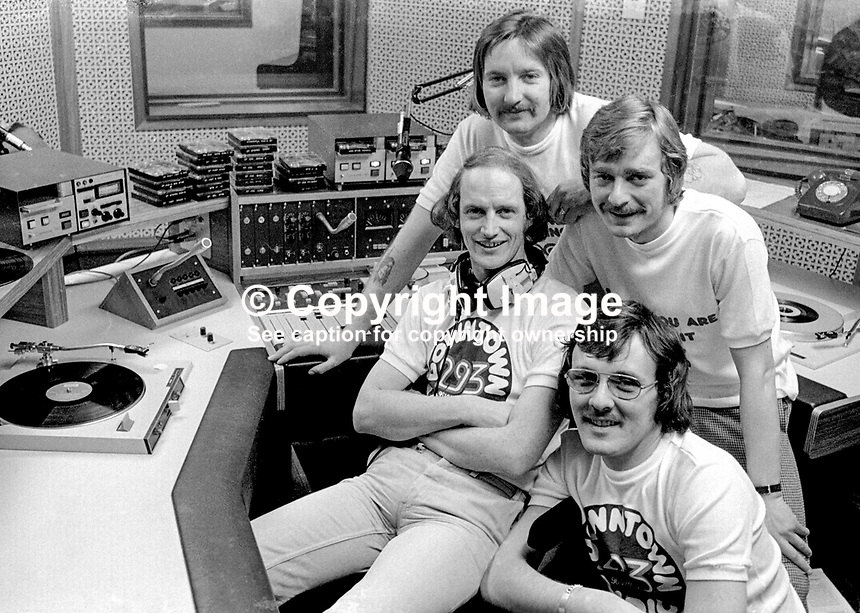 Downtown Radio presenters, top to bottom, John-Paul Ballantine, Paul Prenter, Michael Henderson, aka Hendi, with headphones, and Trevor Campbell, better known as Big T. 197603130148a..CAPTION UPDATE September 2011: John Paul Ballantine is now programme controller at Citybeat Radio, Belfast; Paul Prenter was a presenter for 2 years from 76 to 78 and then went off to work as Queen's tour manager sadly passing away in the 90's; Michael Henderson no longer&nbsp;works in broadcasting; and Big T is still a fulltime presenter with Downtown Radio.<br /> <br /> Copyright Image from Victor Patterson, 54 Dorchester Park, <br /> Belfast, UK, BT9 6RJ<br /> <br /> t1: +44 28 9066 1296 (from Rep of Ireland 048 9066 1296)<br /> t2: +44 28 9002 2446 (from Rep of Ireland 048 9002 2446)<br /> m: +44 7802 353836<br /> <br /> e1: victorpatterson@me.com<br /> e2: victorpatterson@gmail.com<br /> <br /> www.victorpatterson.com<br /> <br /> Please see my Terms and Conditions of Use at www.victorpatterson.com. It is IMPORTANT that you familiarise yourself with them.<br /> <br /> Images used on the Internet must be visibly watermarked i.e. &copy; Victor Patterson within the body of the image and copyright metadata must not be deleted. Images used on the Internet have a size restriction of 4kbs and will be chargeable at current NUJ rates unless advised otherwise.<br /> <br /> This image is only available for the use of the download recipient i.e. television station, newspaper, magazine, book publisher, etc, and must not be passed on to any third party. It is also downloaded on condition that each and every usage is notified within 7 days to victorpatterson@me.com<br /> <br /> The right of Victor Patterson to be identified as the author is asserted in accordance with The Copyright Designs And Patents Act (1988).