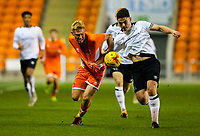 Blackpool's Owen Watkinson vies for possession with Derby County's Eiran Cashin<br /> <br /> Photographer Alex Dodd/CameraSport<br /> <br /> The FA Youth Cup Third Round - Blackpool U18 v Derby County U18 - Tuesday 4th December 2018 - Bloomfield Road - Blackpool<br />  <br /> World Copyright © 2018 CameraSport. All rights reserved. 43 Linden Ave. Countesthorpe. Leicester. England. LE8 5PG - Tel: +44 (0) 116 277 4147 - admin@camerasport.com - www.camerasport.com
