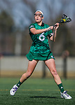 30 March 2016: Manhattan College Jasper Midfielder Caitlin Murphy, a Freshman from Carmel, NY, in action against the University of Vermont Catamounts at Virtue Field in Burlington, Vermont. The Lady Cats defeated the Jaspers 11-5 in non-conference play. Mandatory Credit: Ed Wolfstein Photo *** RAW (NEF) Image File Available ***