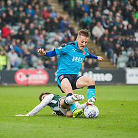 George Glendon of Fleetwood Town is challenged by Graham Carey of Plymouth Argyle during the Sky Bet League 1 match between Plymouth Argyle and Fleetwood Town at Home Park, Plymouth, England on 7 October 2017. Photo by Mark  Hawkins / PRiME Media Images.