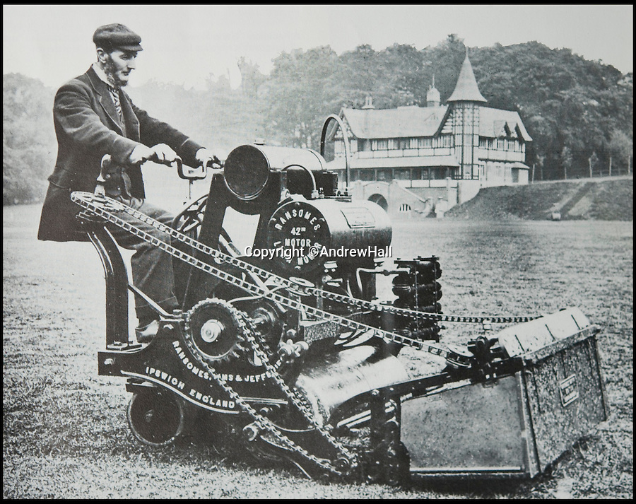 BNPS.co.uk (01202 558833)<br /> Pic: AndrewHall<br /> <br /> Lawnmowing aristocracy...<br /> <br /> The machine at work in Bournville.<br /> <br /> The worlds first powered mower has taken to the grass once more after an exhaustive restoration by lawnmower nut Andrew Hall from Somerset.<br /> <br /> Forerunner of all the machines that have graced British lawns on sunday afternoons through the decades since, This 1902 Ransome 3hp is a historic survivor from the Edwardian age when chauffers were given the task of grooming their masters lawns and the new fangled machines cost as much as a house.