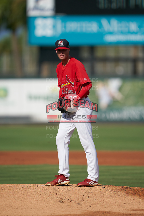 Palm Beach Cardinals starting pitcher Griffin Roberts (32) during a Florida State League game against the Clearwater Threshers on August 10, 2019 at Roger Dean Chevrolet Stadium in Jupiter, Florida.  Clearwater defeated Palm Beach 11-4.  (Mike Janes/Four Seam Images)