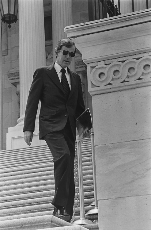 Sen. Jeff Bingaman, D-N.M., at the Capitol Hill, April 1993. (Photo by Laura Patterson/CQ Roll Call via Getty Images)