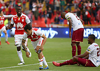 BOGOTÁ - COLOMBIA, 03-11-2018: Diego Guastavino jugador de Santa Fe celebra después de anotar el tercer gol de su equipo al Tolima durante el encuentro entre Independiente Santa Fe y Deportes Tolima por la fecha 18 de la Liga Águila II 2018 jugado en el estadio Nemesio Camacho El Campin de la ciudad de Bogotá. / Diego Guastavino player of Santa Fe celebrates after scoring the third goal of his team to Tolima during match between Independiente Santa Fe and Deportes Tolima for the date 18 of the Aguila League II 2018 played at the Nemesio Camacho El Campin Stadium in Bogota city. Photo: VizzorImage / Cont