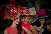 LOUISVILLE, KY - MAY 05: Three women pose while wearing the best hats on Kentucky Oaks Day at Churchill Downs on May 5, 2017 in Louisville, Kentucky. (Photo by Scott Serio/Eclipse Sportswire/Getty Images)