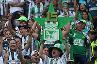 MEDELLÍN -COLOMBIA-20-12-2015. Hichas de Atlético Nacional animan a su equipo durante partido de vuelta de la final de la Liga Aguila II 2015 entre Atlético Nacional y Atlético Junior jugado en el estadio Atanasio Girardot de la ciudad de Medellín. / Fans of Atletico Nacional cheer for their team during second leg match of the final of Aguila League II 2015 between Atletico Nacional and Atletico Junior played at Atanasio Girardot stadium in Medellin city. Photo: VizzorImage/ Felipe Caicedo / Staff