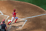 6 September 2014: Washington Nationals outfielder Denard Span at bat against the Philadelphia Phillies at Nationals Park in Washington, DC. The Nationals fell to the Phillies 3-1 in the second game of their 3-game series. Mandatory Credit: Ed Wolfstein Photo *** RAW (NEF) Image File Available ***