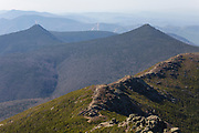 Mount Flume (left) and Mount Liberty (right) from the summit of Mount Lincoln in the White Mountains, New Hampshire during the spring months. The Appalachian Trail (Franconia Ridge Trail) is in the foreground.