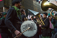 NEW YORK,NY APRIL 14: A band plays during the protest against Donal Trump near to Grand Central in Manhattan on April 14,2016 in New York City.Photo by VIEWpress/Maite H. Mateo