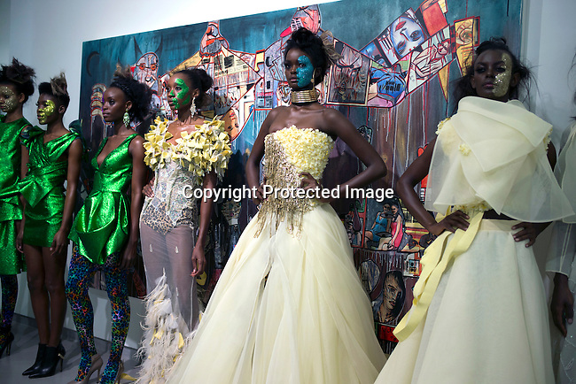 CAPE TOWN, SOUTH AFRICA AUGUST 1: Models walking for the designer David Tlale during a show on August 1 2015 at Gallery MOMO in Cape Town, South Africa. David Tlale is one of South Africa's most established designers and he showed a wedding collection at the yearly Mercedes Benz Cape Town Fashion Week, where some of South Africa's finest designers showed their Spring/Summer 2016 collections during the 3-day event. (Photo by Per-Anders Pettersson)