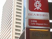 Bank of East Asia signage, Central district, Hong Kong, China, 28 April 2014.