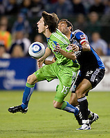 Ramiro Corrales of Earthquakes fights for the ball against Alvaro Fernandez of Sounders during the game at Buck Shaw Stadium in Santa Clara, California on July 31st, 2010.   Seattle Sounders defeated San Jose Earthquakes, 1-0.