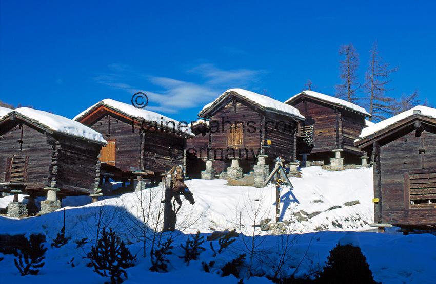 Switzerland, Valais, Saas Fee, old hay huts