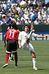 9 June 2007: United States defender Michael Parkhurst (16) executes an overhead kick to clear the ball away from Trinidad and Tobago's Andre Toussaint (11). The United States Men's National Team defeated the National Team of Trinidad & Tobago 2-0 at the Home Depot Center in Carson, California in a first round game in the CONCACAF Gold Cup.