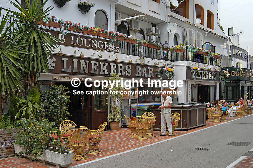 Linekers Bar, Puerto Banus, Marbella, Andalusia, Spain. Not believed to be owned by Gary Lineker but by his brother, Wayne Lineker. 200405044592..Copyright Image from Victor Patterson, 54 Dorchester Park, Belfast, UK, BT9 6RJ..Tel: +44 28 9066 1296.Mob: +44 7802 353836.Voicemail +44 20 8816 7153.Skype: victorpattersonbelfast.Email: victorpatterson@mac.com.Email: victorpatterson@ireland.com (back-up)..IMPORTANT: If you wish to use this image or any other of my images please go to www.victorpatterson.com and click on the Terms & Conditions. Then contact me by email or phone with the reference number(s) of the image(s) concerned.