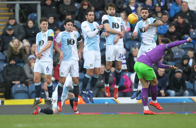 Blackburn Rovers wall blocks a free kick by Bristol City's Josh Brownhill<br /> <br /> Photographer Mick Walker/CameraSport<br /> <br /> The EFL Sky Bet Championship - Blackburn Rovers v Bristol City - Saturday 9th February 2019 - Ewood Park - Blackburn<br /> <br /> World Copyright © 2019 CameraSport. All rights reserved. 43 Linden Ave. Countesthorpe. Leicester. England. LE8 5PG - Tel: +44 (0) 116 277 4147 - admin@camerasport.com - www.camerasport.com