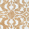 Yasmine, a waterjet and hand-cut stone mosaic, shown in honed Lavigne and polished Calacatta.
