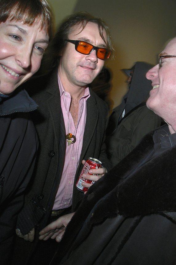 artist Damien Hirst at his opening at New York's Gagosian Gallery, 2005