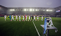 Pictured: Players greet each other before kick off Monday 15 May 2017<br />