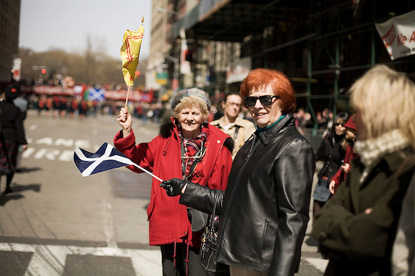Saturday, April 14,  2007, New York, New York.. The 9th annual Tartan Day Parade was held today on 6th Avenue between 44th and 58th Streets.. Thousands turned out to play the drums, pipes and to view all those dressed for the occasion.. (left to right) Agnes Atkins, of NYC, and Rosemary Berry, of Brooklyn, came out to show their support.