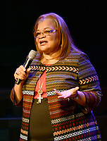 Janelle Jessen/Siloam Sunday<br /> Alveda C. King, niece of Martin Luther King Jr., spoke to John Brown University Students during chapel service on Thursday. King was featured as the 2019 speaker for the Barnett Civic Leadership Series.
