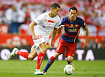 FC Barcelona's Sergio Busquets and Sevilla CF's Vitolo during Spanish Kings Cup Final match. May 22,2016. (ALTERPHOTOS/Acero)