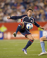 New England Revolution defender Jay Heaps (6) traps a high pass. The New England Revolution defeated the Colorado Rapids, 1-0, at Gillette Stadium in Foxboro, MA on September 29, 2007.