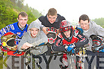 Extreme cyclists at the 5th round of the Irish DH NPS in Ros an Cru na Lua Woods, Killarney on Saturday l-r: Johnny Hickey, Stephen Hickey, Colin O'Donoghue, Cian Shils and Robert Duggan, Killarney.