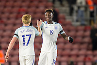 Tammy Abraham (Bristol City (on loan from Chelsea) of England at the final whistle with Duncan Watmore (Sunderland) of England during the Under 21 International Friendly match between England and Italy at St Mary's Stadium, Southampton, England on 10 November 2016. Photo by Andy Rowland.