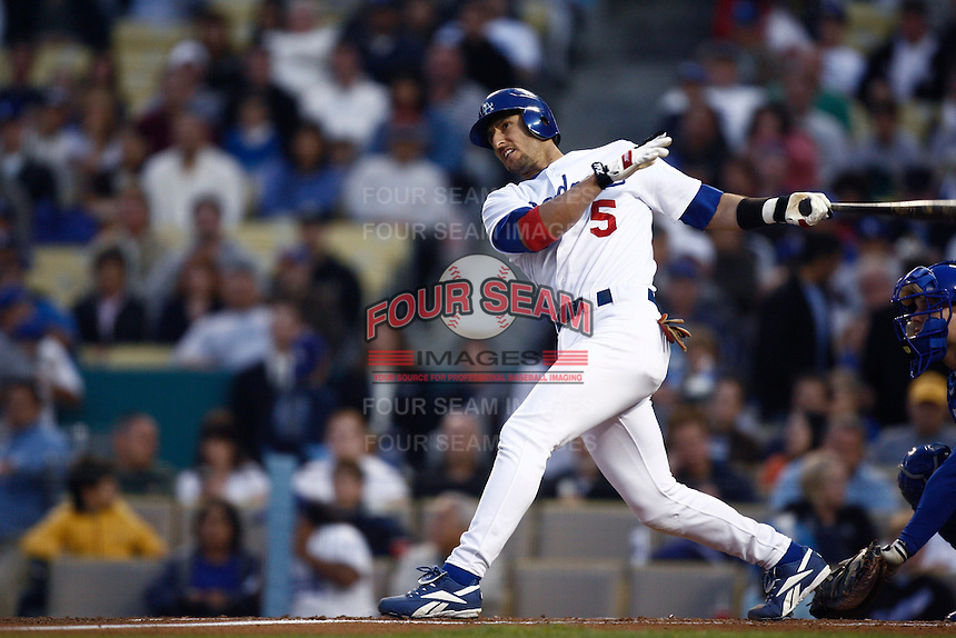 Nomar Garciaparra of the Los Angeles Dodgers during a 2007 MLB season game at Dodger Stadium in Los Angeles, California. (Larry Goren/Four Seam Images)