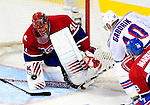 23 January 2010: Montreal Canadiens goaltender Jaroslav Halak makes a third period save against the New York Rangers at the Bell Centre in Montreal, Quebec, Canada. The Canadiens shut out the Rangers 6-0. Mandatory Credit: Ed Wolfstein Photo