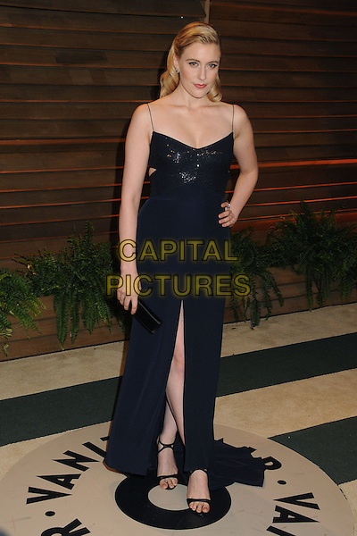 02 March 2014 - West Hollywood, California - Greta Gerwig. 2014 Vanity Fair Oscar Party following the 86th Academy Awards held at Sunset Plaza. <br /> CAP/ADM/BP<br /> &copy;Byron Purvis/AdMedia/Capital Pictures