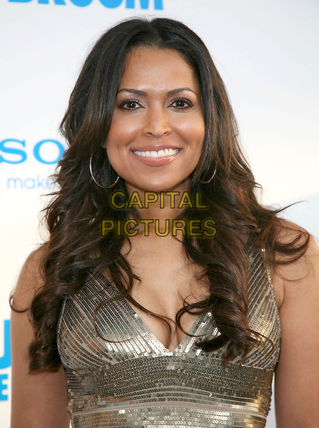 TRACEY EDMONDS .at The Screen Gems L.A. Premiere of Jumping the Broom held at The Cinerama Dome Theatre in Hollywood, California, USA, May 4th 2011..portrait headshot gold sequined sequin smiling hoop earrings .CAP/RKE/DVS.©DVS/RockinExposures/Capital Pictures.