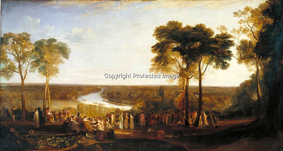 BNPS.co.uk (01202 558833)<br /> Pic: VictoriaFoundation/BNPS<br /> <br /> Turners famous painting 'Richmond Hill' in 1825.<br /> <br /> The only view in England which is considered so beautiful it is protected by an Act of Parliament has been captured by various artists in a new book.<br /> <br /> The view from Richmond Hill in London would normally have been buried under urban sprawl as the capital has grown over the last hundred years, but thanks to the enlightened Act of 1902 this idyllic oasis still survives<br /> <br /> Under the Richmond, Ham and Petersham Open Spaces Act (1902), no construction was allowed which would impinge on the picturesque view from Richmond Hill in south-west London made famous by artist's such as JMW Turner in the previous century.<br /> <br /> Prominent in the panorama - perched on top of Richmond Hill - is the Grade II listed Star and Garter Building which until recently housed injured ex-servicemen but has now been converted into 84 apartments.<br /> <br /> Seventeen artists were commissioned for the project - which also included an exhibition - and they have created idyllic snapshots of the Star and Garter Building, Richmond Park and the river Thames from different vantage points.