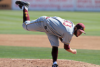 Trevor Williams #43 of the Arizona State Sun Devils pitches against the Long Beach State Dirtbags at Blair Field on March 11, 2012 in Long Beach,California. Arizona State defeated Long Beach State 6-1.(Larry Goren/Four Seam Images)